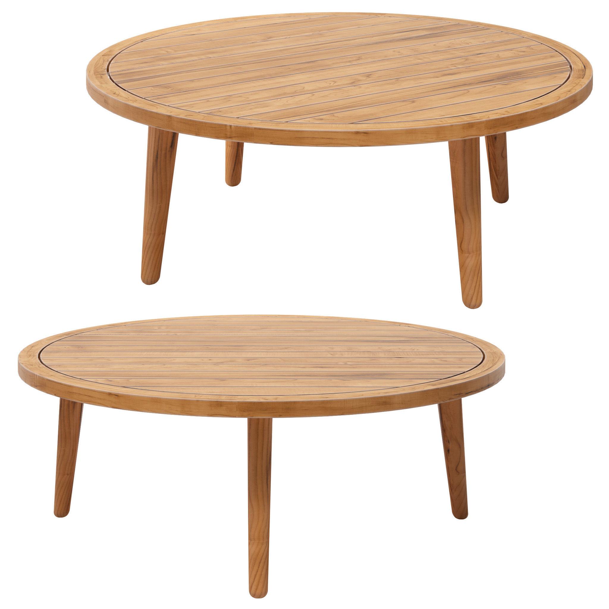 NOUMEA Round solid acacia garden side table