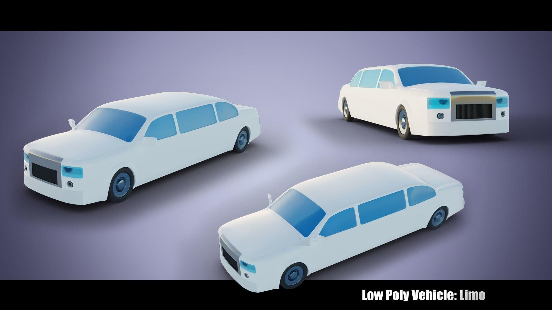 Low Poly Vehicle - Vanilla Limousine