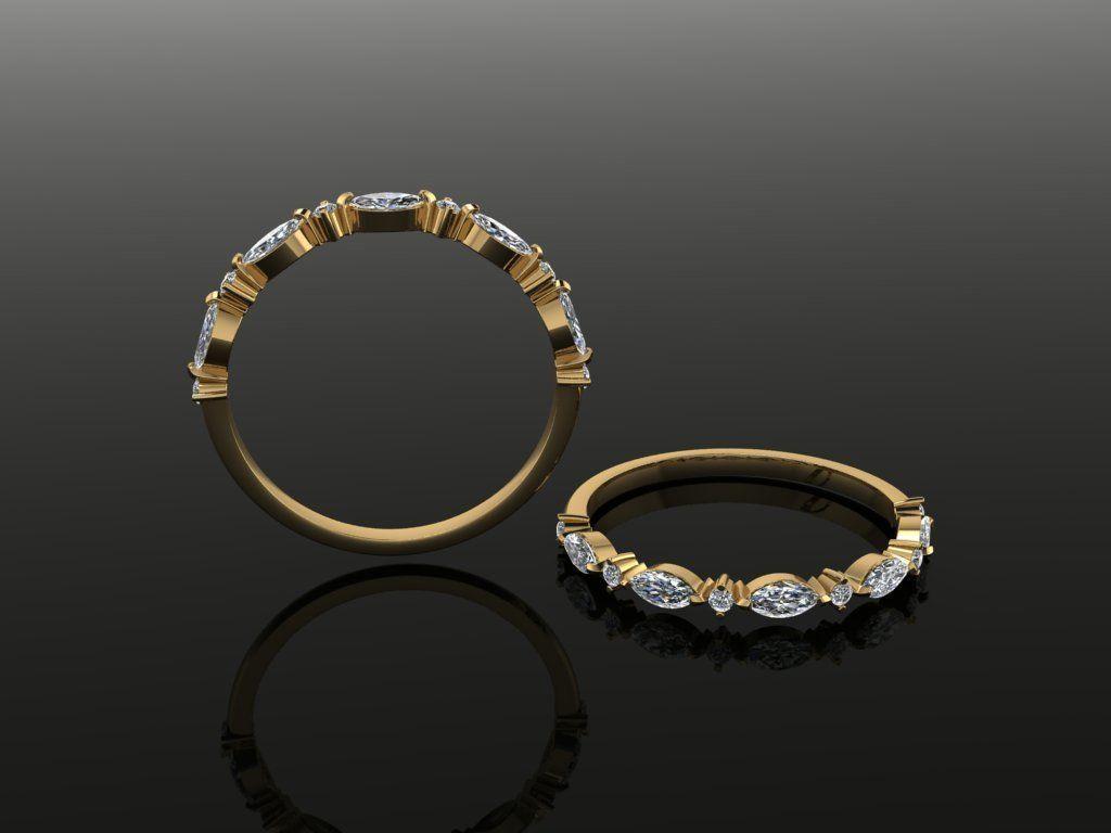 Marquise Half Infinity Diamond Band Ring Dainty