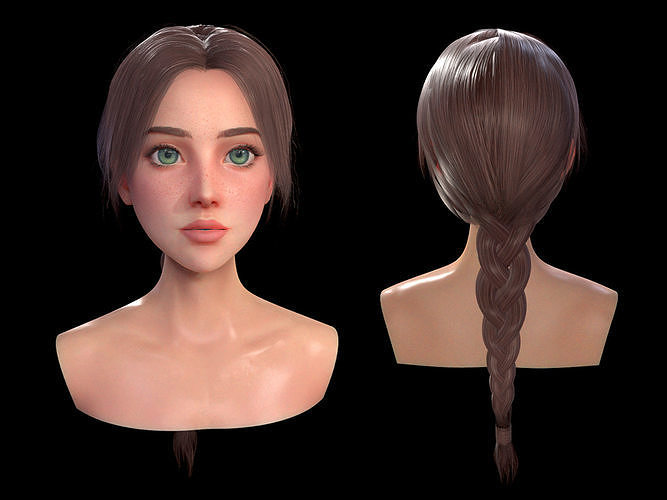 Realtime Long Braid Hairstyle - Game Ready