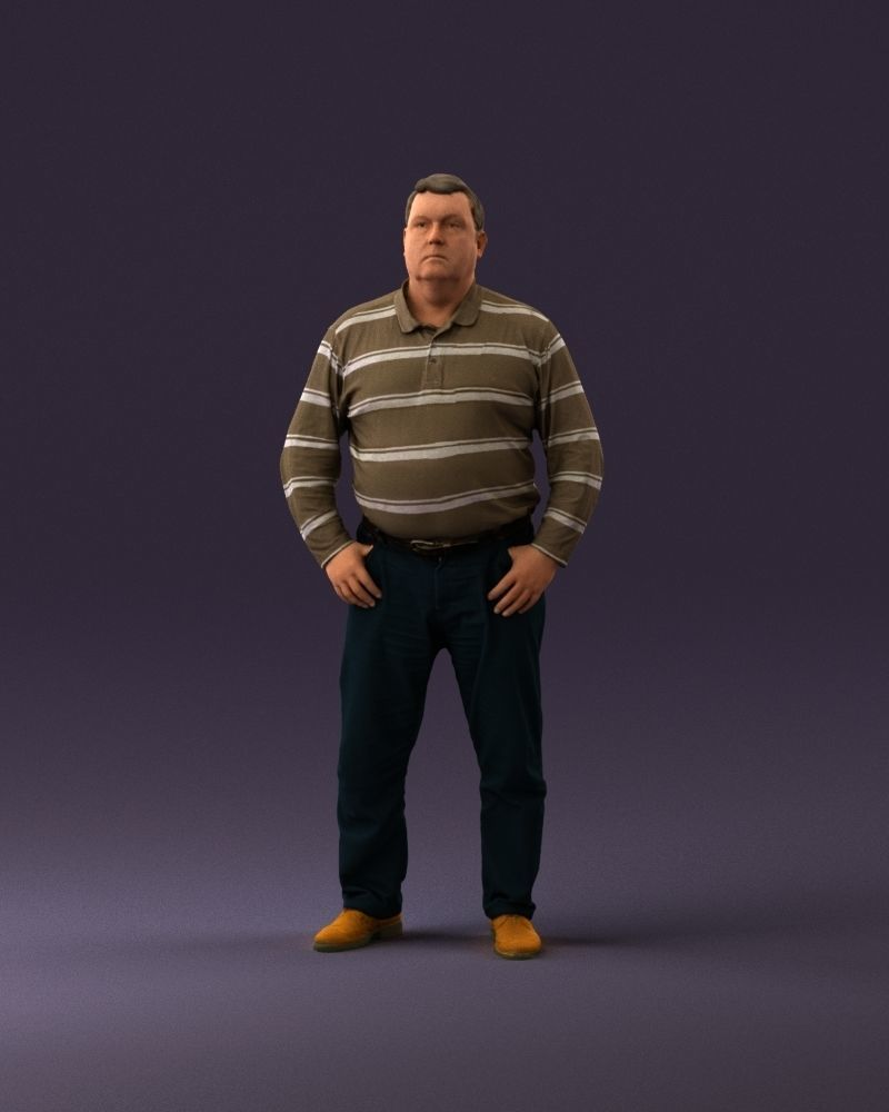 000986 Fat man in striped khaki polo