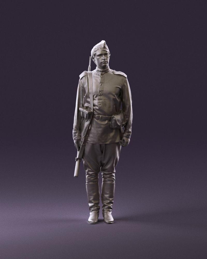 001008 man in soldier uniform sniper rifle 3D Print Ready