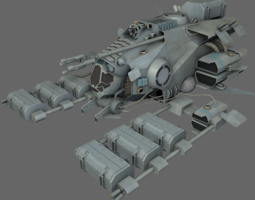 3D asset VR / AR ready Mining Ship MS