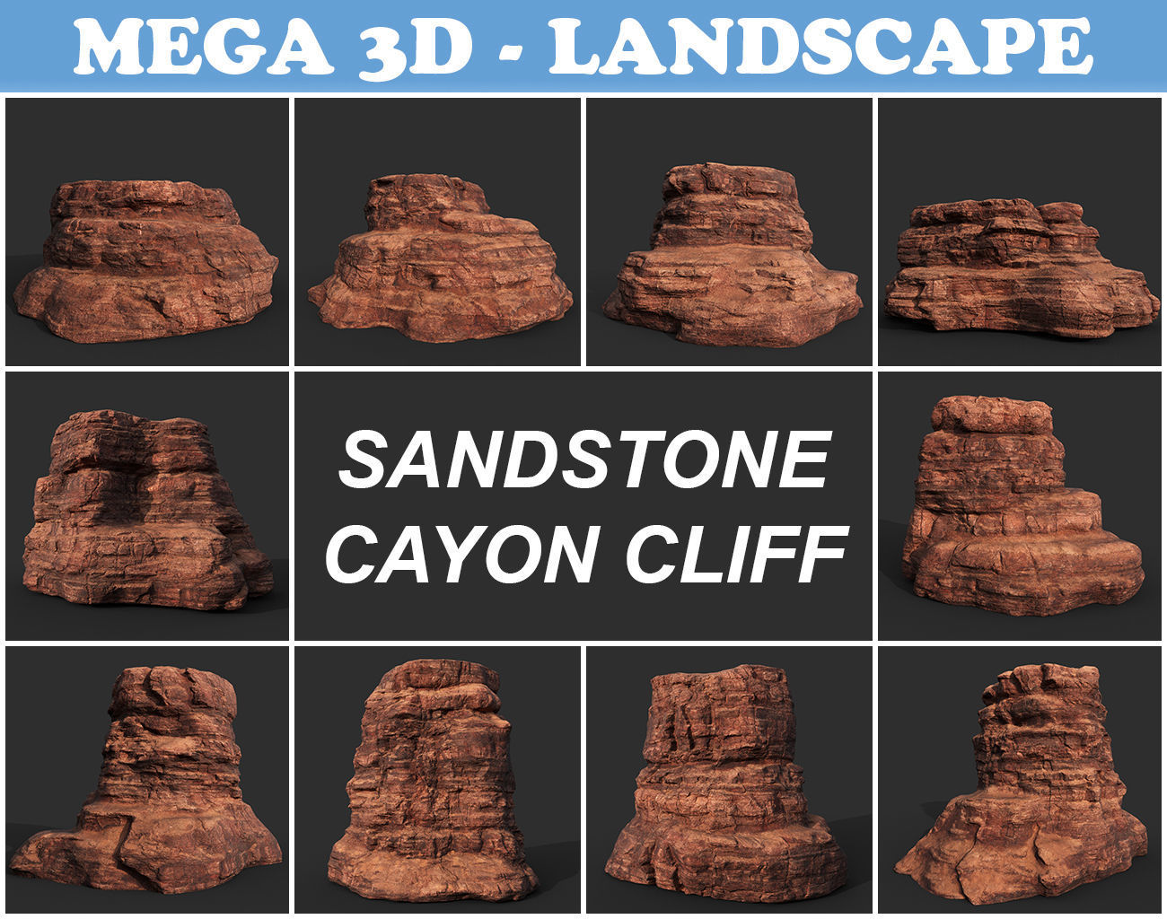 Low poly Sandstone Canyon Cliff 210223