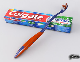Toothbrush and Toothpaste 3D Model