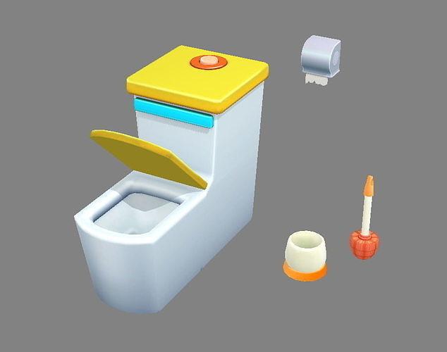 Cartoon toilet - toilet brush - toilet paper
