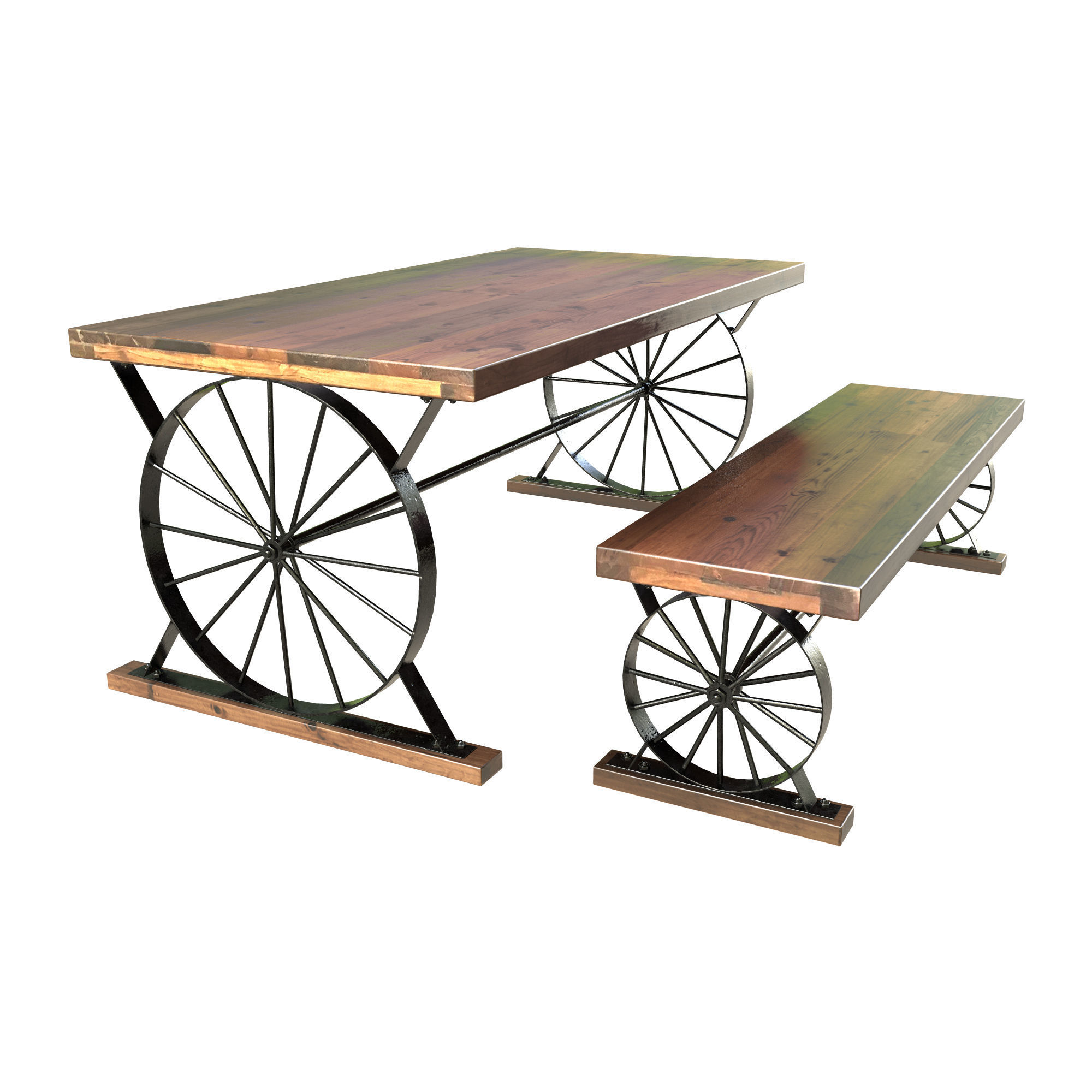 Wagon Wheel Dining Table Bench
