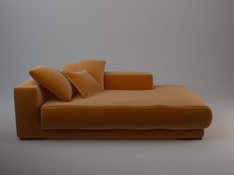 Orange Sofa Daybed Model Max Obj Mtl S Fbx Unitypackage Prefab 2