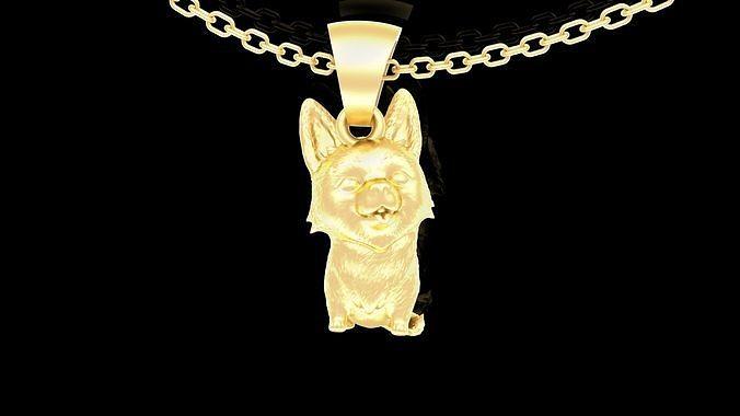 Funny Corgi Dog Pendant jewelry Gold