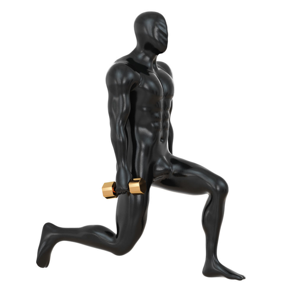 Fitness mannequin training with dumbbells 142