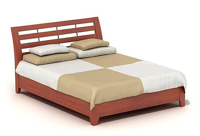3d Modern Wooden Bed Cgtrader