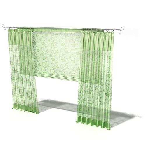 green curtains 3d model  1