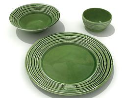 3D model Green Ceramic Dishware With Pattern