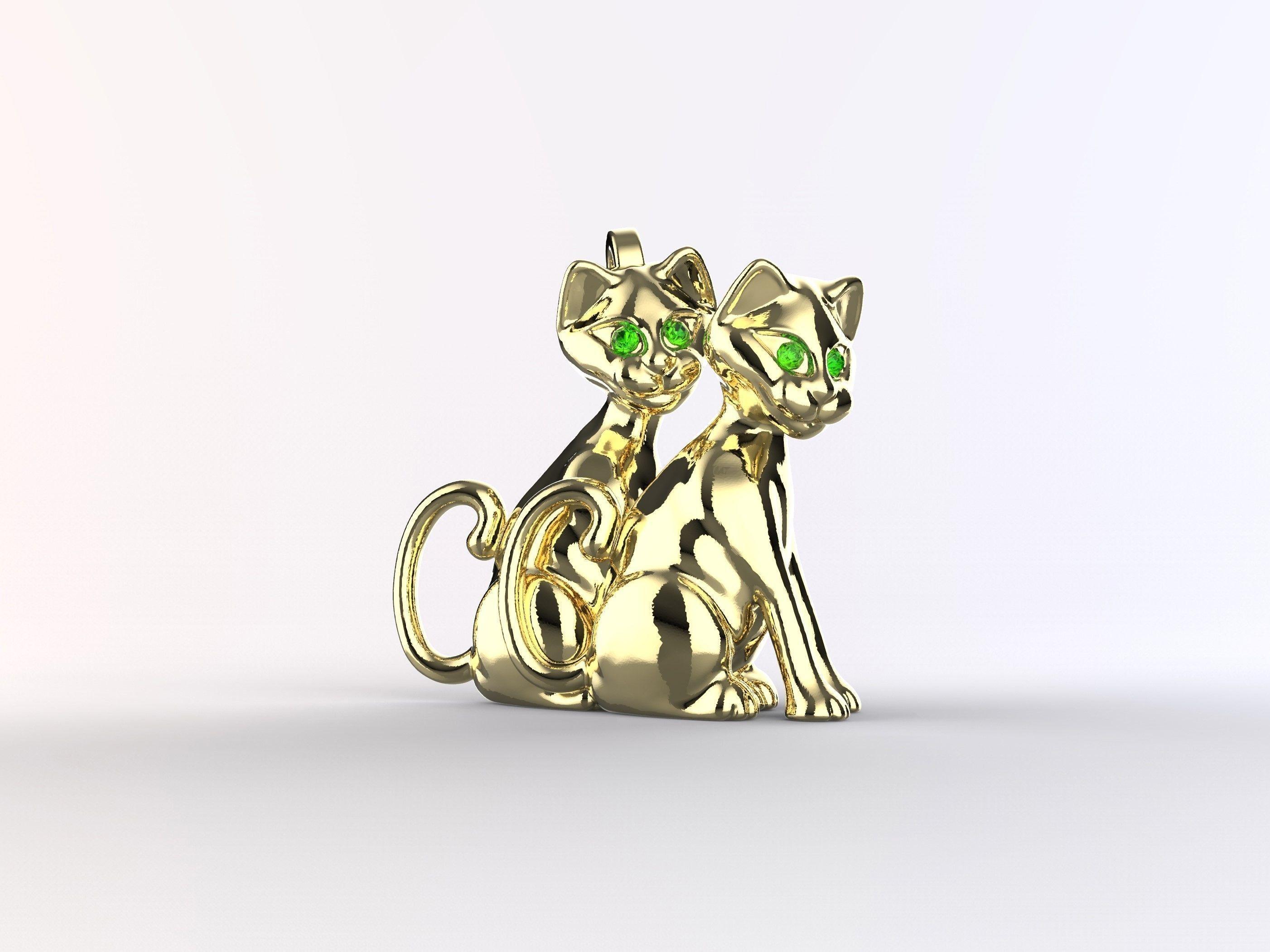 Double Cat Pendant