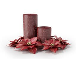 red pair of asymetrical crackled candles surrounded by red poinsettia 3d model