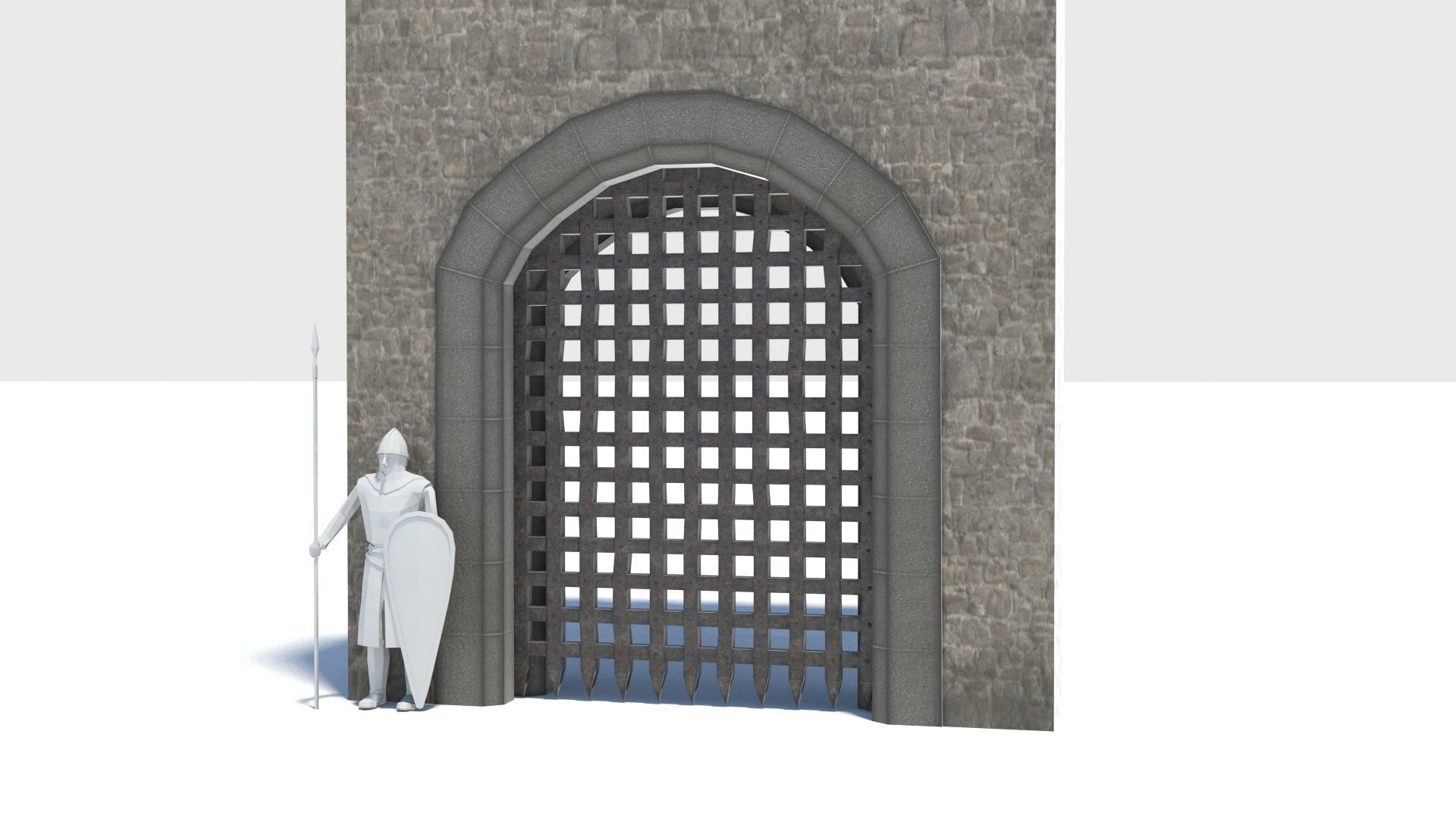 Medieval portcullis gate and winch animated