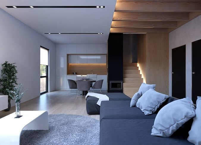 Modern Interior- Living Room and Kitchen