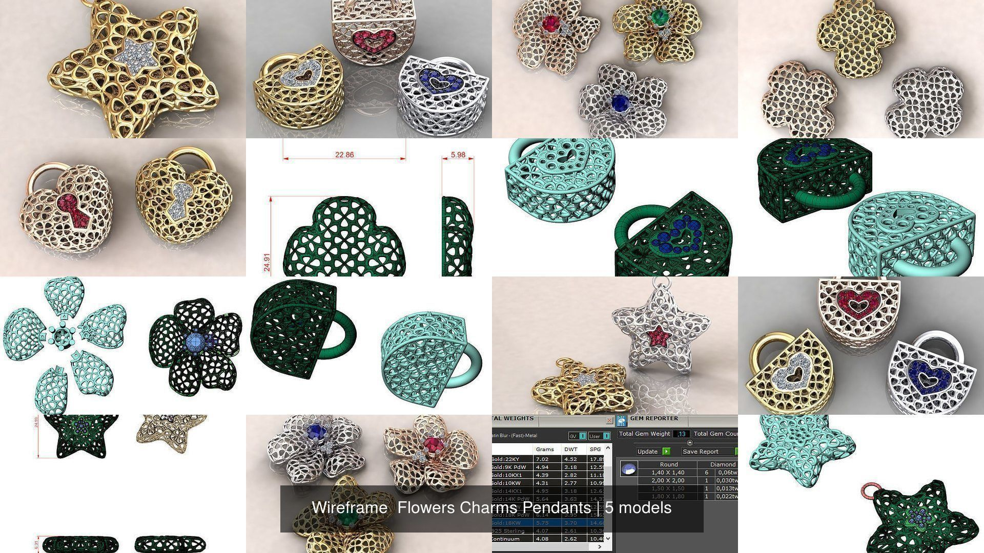 Wireframe  Flowers Charms Pendants