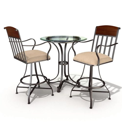 Restaurant Table And Chair Set D Model CGTrader - Restaurant table and chair sets