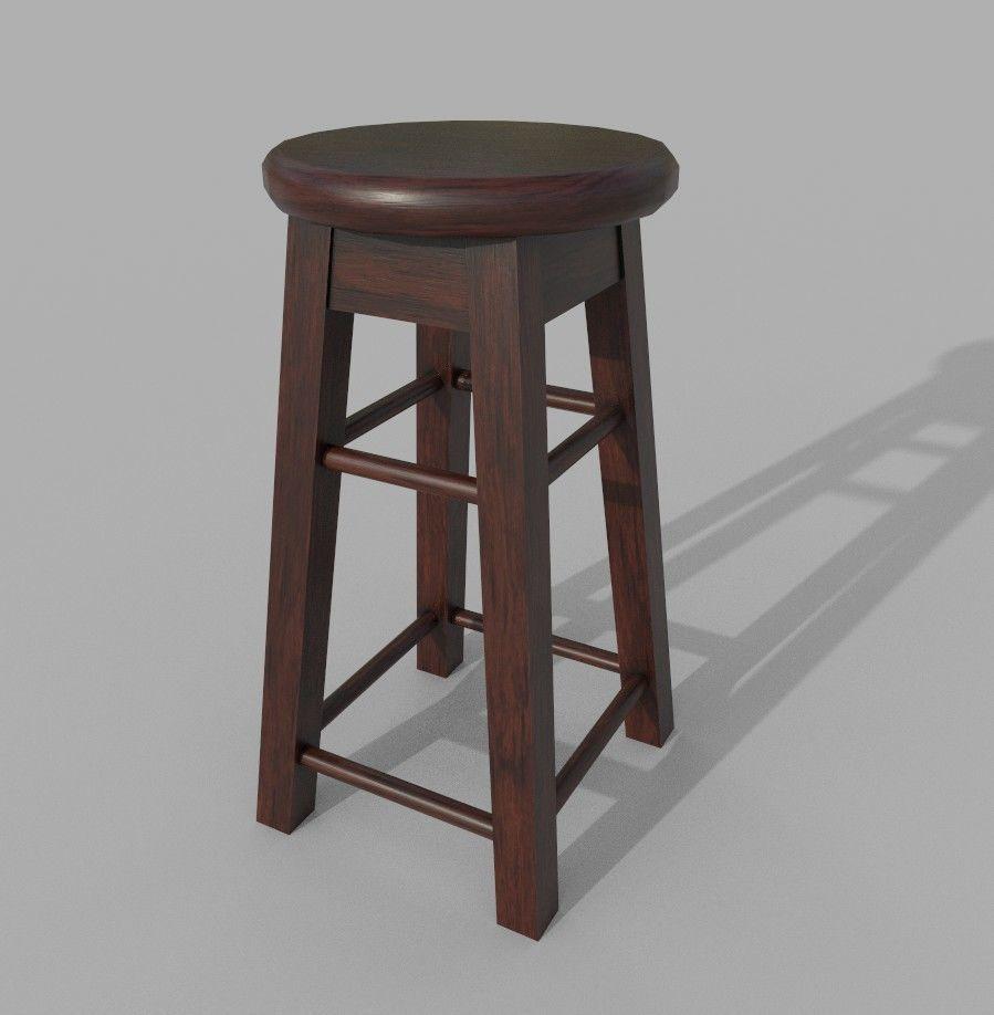 3D model Low Poly Wooden Stool VR / AR / low-poly MAX OBJ FBX