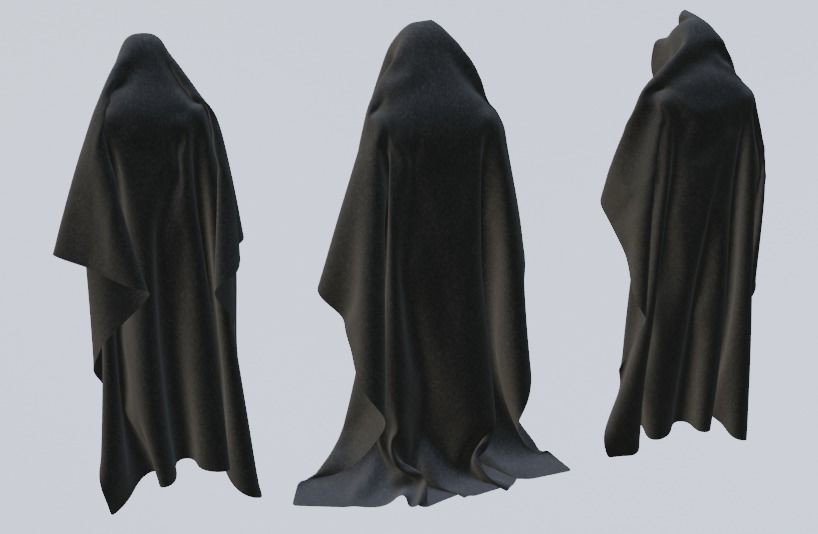 3 Black Hooded Capes