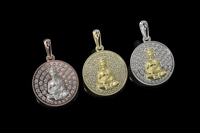 Buda Pendant with stones and Bail