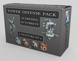 3d model VR / AR ready tower defense pack