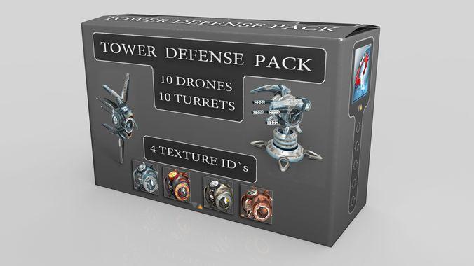 tower defense pack 3d model low-poly max obj fbx mtl tga 1