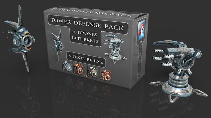 tower defense pack 3d model low-poly max obj fbx mtl tga 2