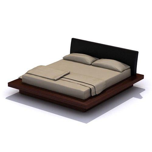 Modern Dark Wood Platform Bed D Model