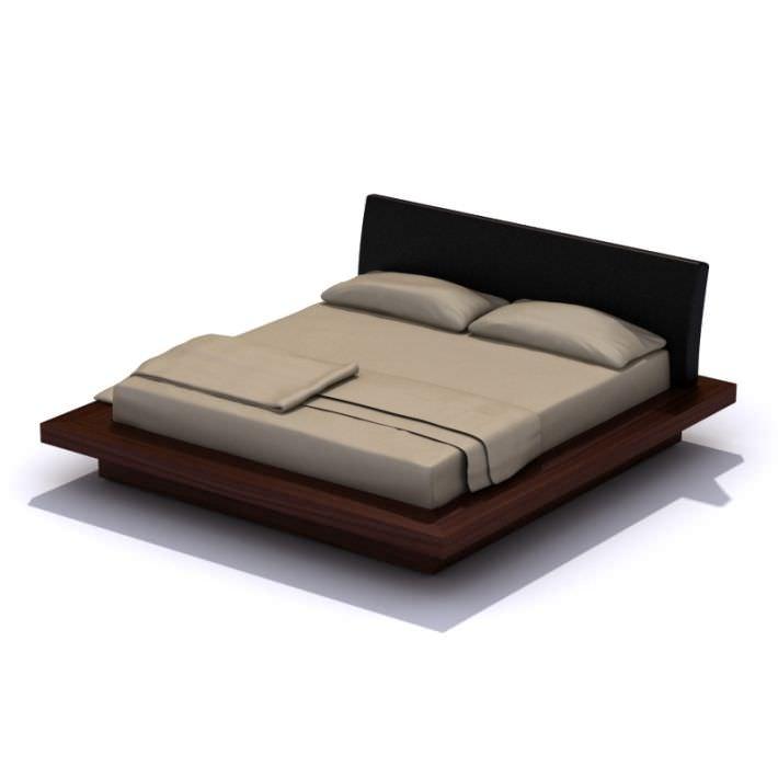 modern dark wood platform bed 3d model 1