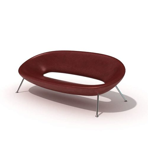 red modern oval sofa 3d model  1