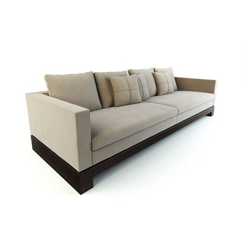 long modern tan couch with a wooden base 3d model obj rh cgtrader com extra long modern sofa extra long modern sofa