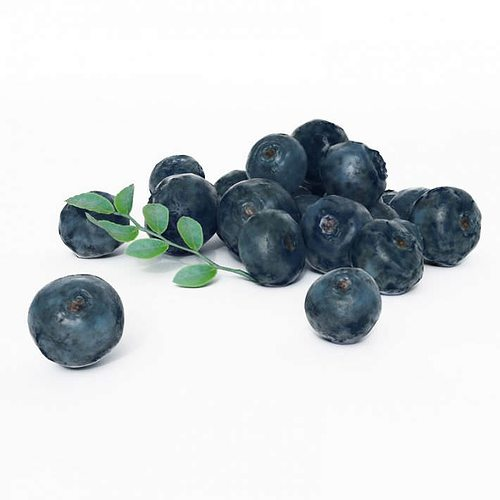 cluster of fresh blueberries 3d model obj 1