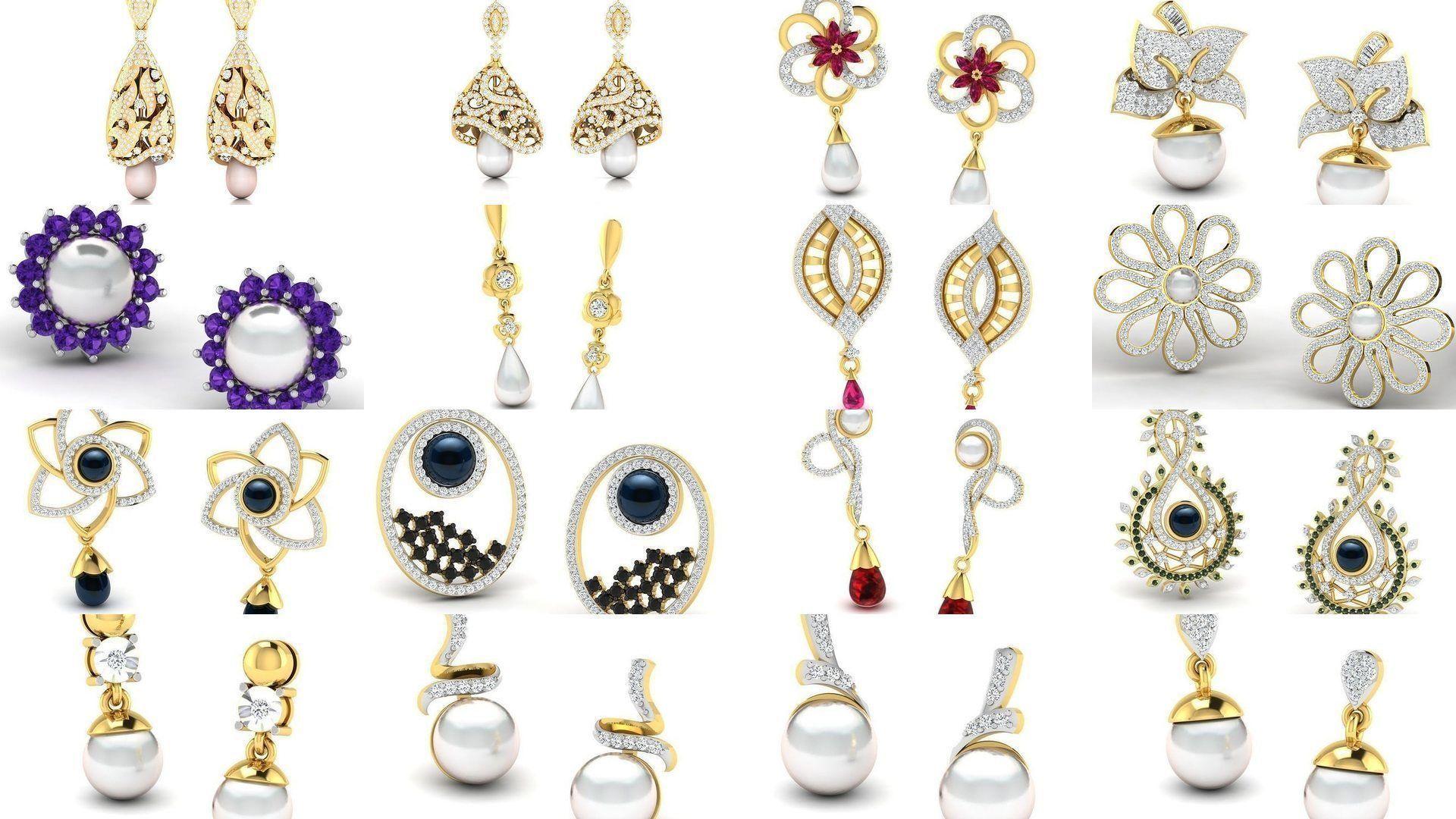 97 Women pearl earrings 3dm render detail