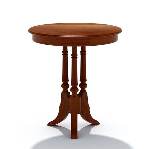 3d Model Wooden Small Round Table Cgtrader