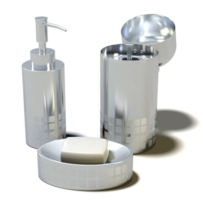 Designer s silver bathroom accessories 3d model for Designer bedroom accessories