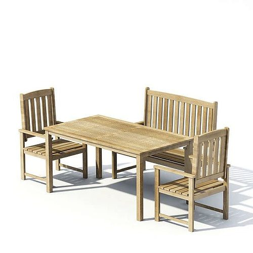 Wooden Garden Table With Two Chairs And A Bench 3d Model
