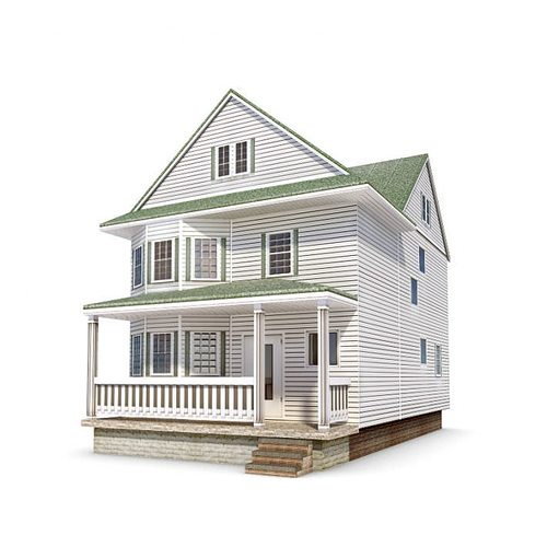 Two story house with a full porch 3d model for Two story model homes