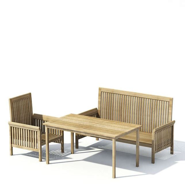 wooden patio furniture with table 3d model 1 - Garden Furniture 3d