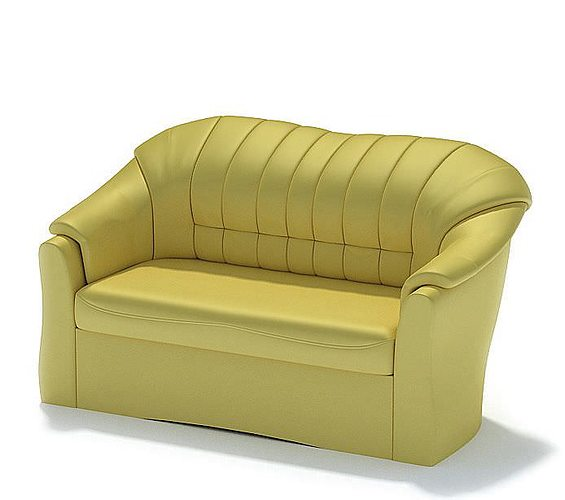 Yellow leather couch 3d model for Yellow leather sofa bed