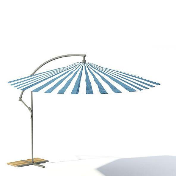 3D Striped Garden Umbrella CGTrader