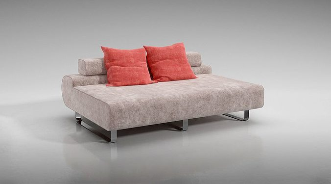 Exceptional Modern Low Back Sofa With Red Throw Pillows 3D Model