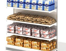 3d grocery store shelf with baking goods