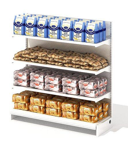 grocery store shelf with baking goods 3d model obj mtl 1