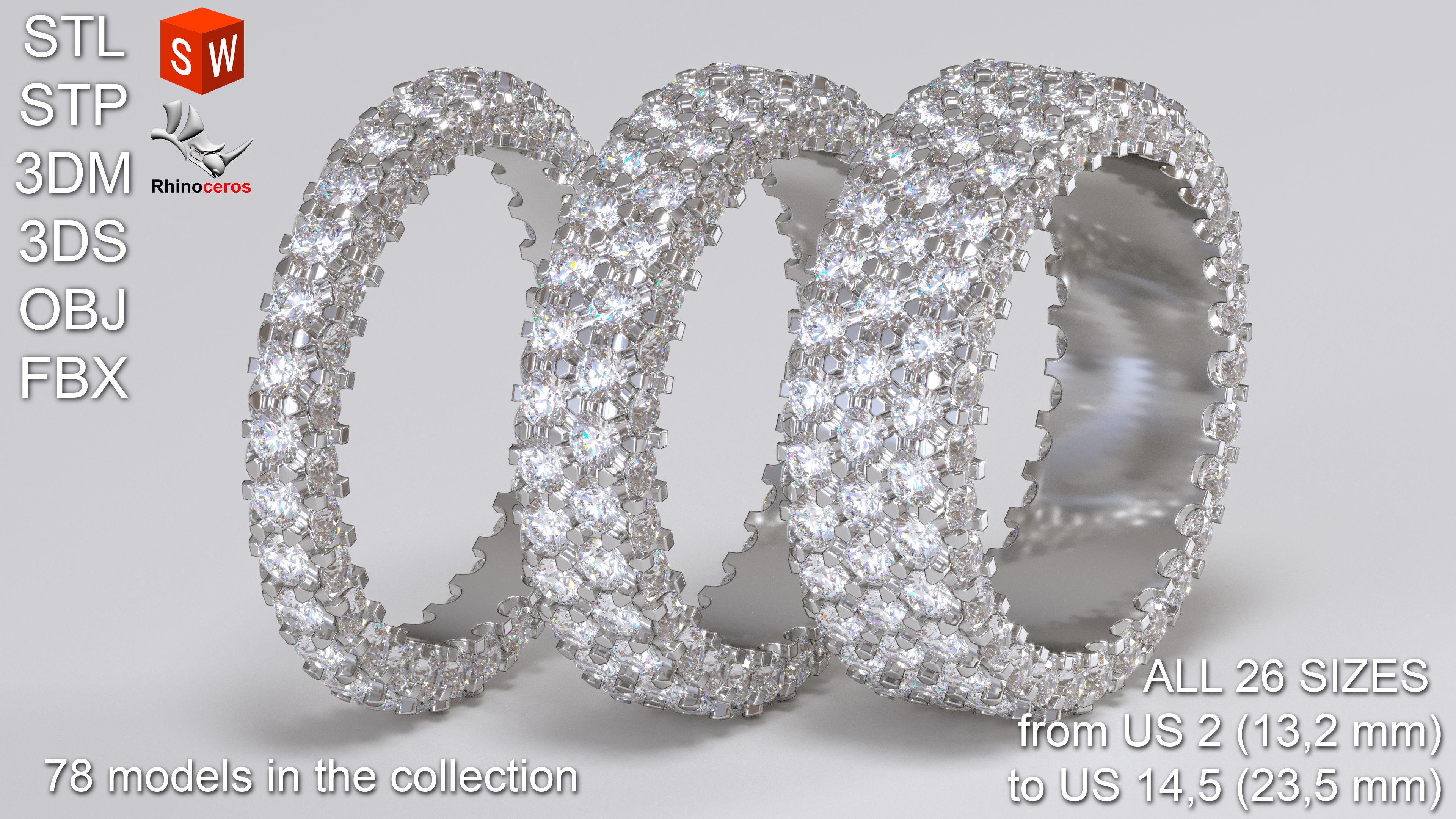 Infinity diamond ring Pack 3D print model