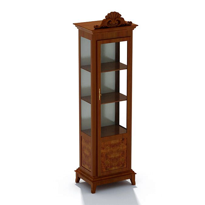 Superbe Wood And Glass Display Case Cabinet 3D Model