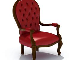 3d red leather chair