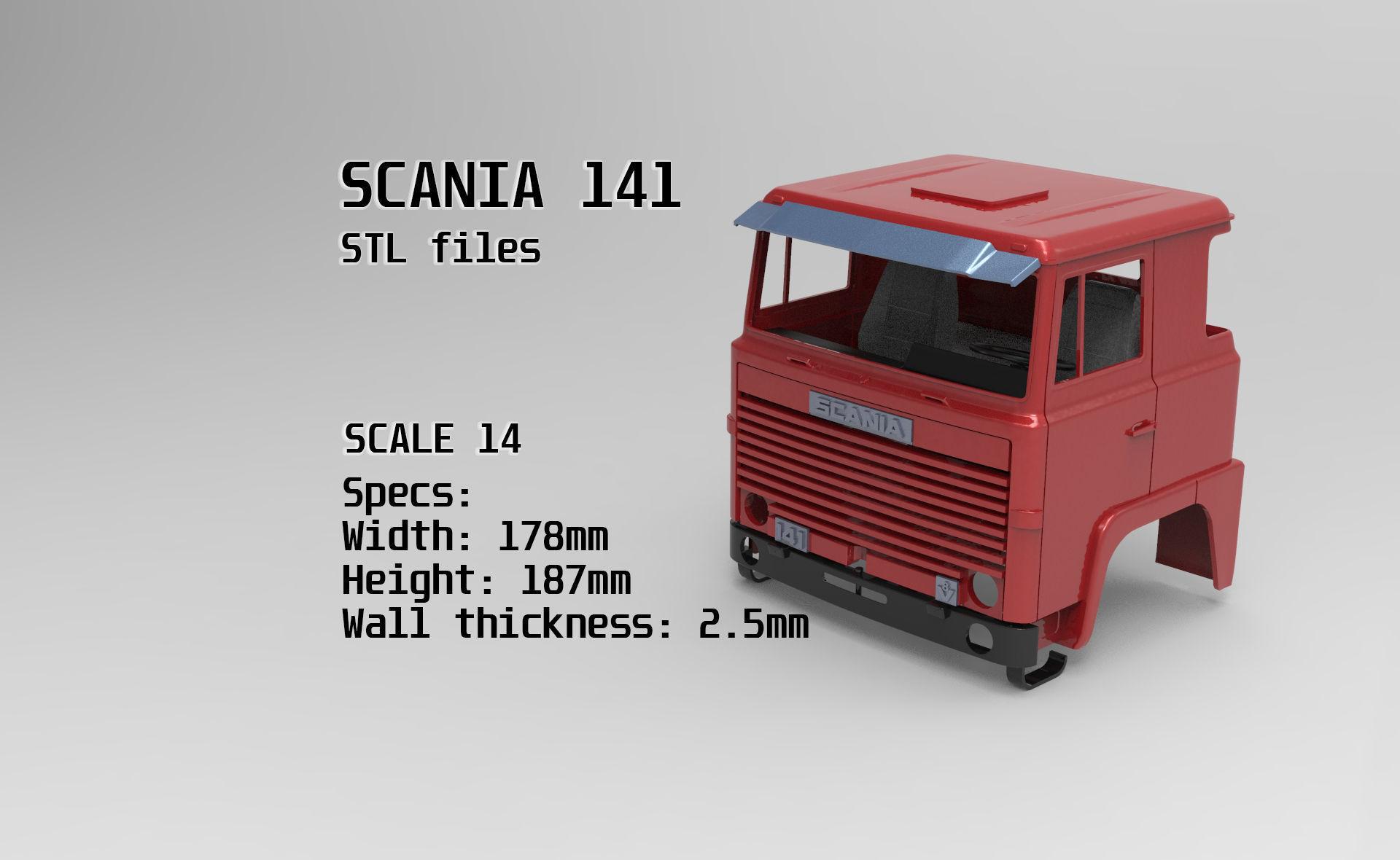Custom Cab Scania 141 truck tamiya STL for RC