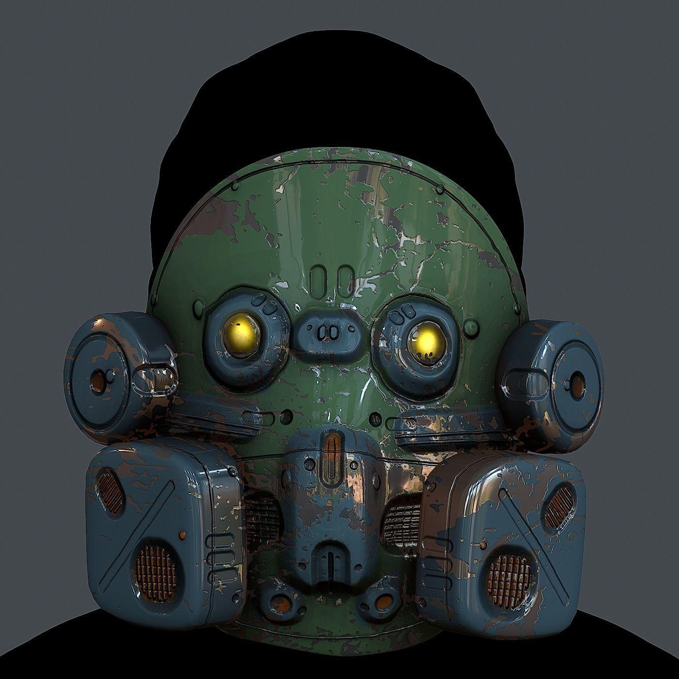 Gas mask helmet 3d model scifi